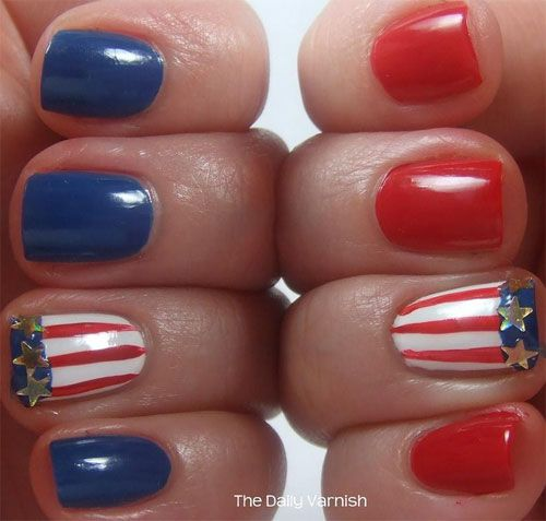 15-Easy-Cool-Fourth-Of-July-American-Flag- - 15-Easy-Cool-Fourth-Of-July-American-Flag-Nail-Designs-4th-of-July