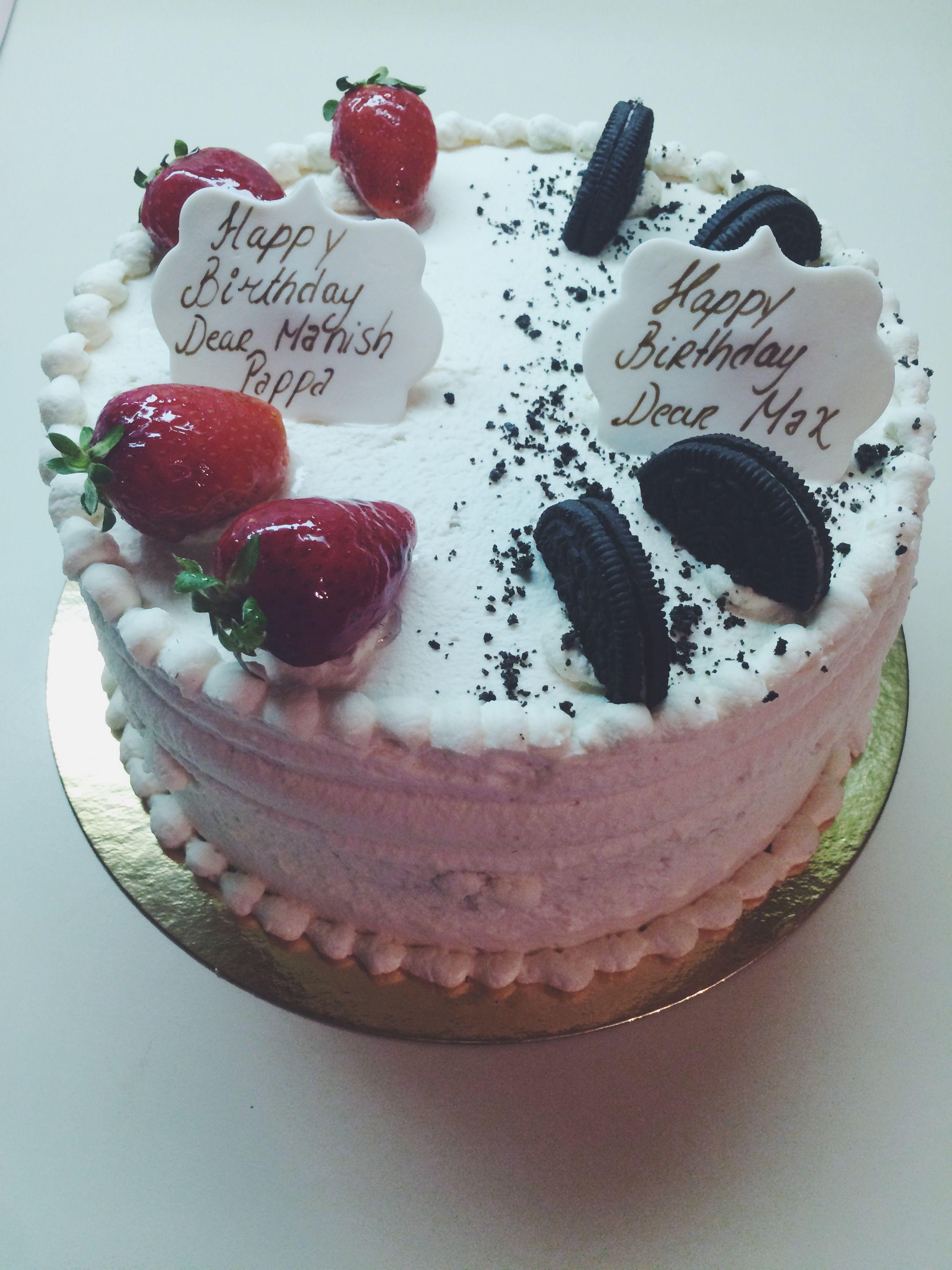 Half oreo half strawberry shortcake cake cake desserts