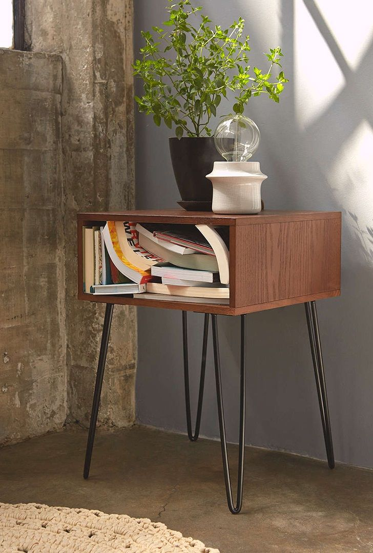 Wood And Metal Bedside Table: Name:HCSF022 Solid Wood Round Steel Bedside Table, Price