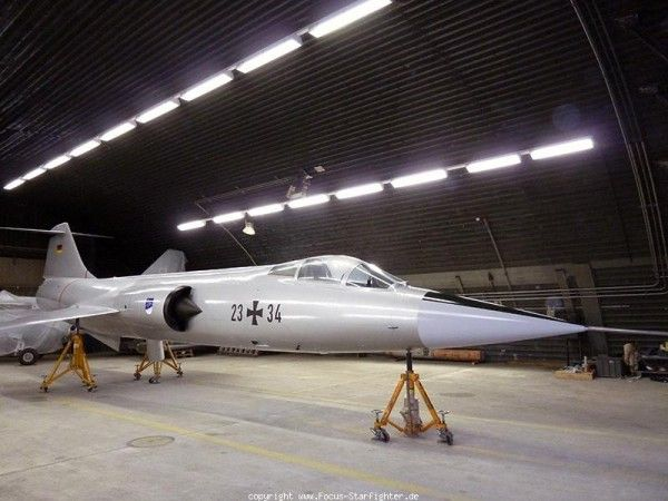 """Lockheed F-104 Starfighter """" Silver Bird """" is near completion.Was gate guardian at Memmingen Air Base until 2011,new plans have aircraft to be erected near new Memmingen airport.Built by Fokker KG-258,& during service with Luftwaffe was 24 +17.New paint scheme will be different from mid-80′s NATO camouflage in fact """" white aluminum """" & markings 23+34 will be applied."""