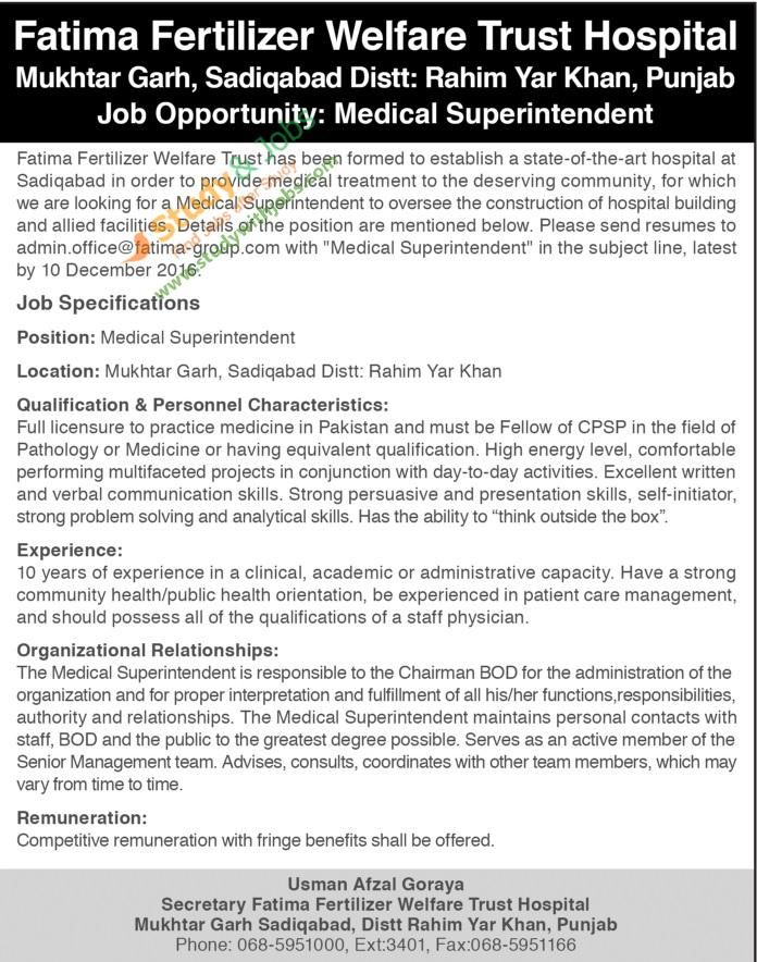 ... Jobs Opportunities In Fatima Fertilizer Welfare Trust Hospital   Construction  Superintendent Job Description ...