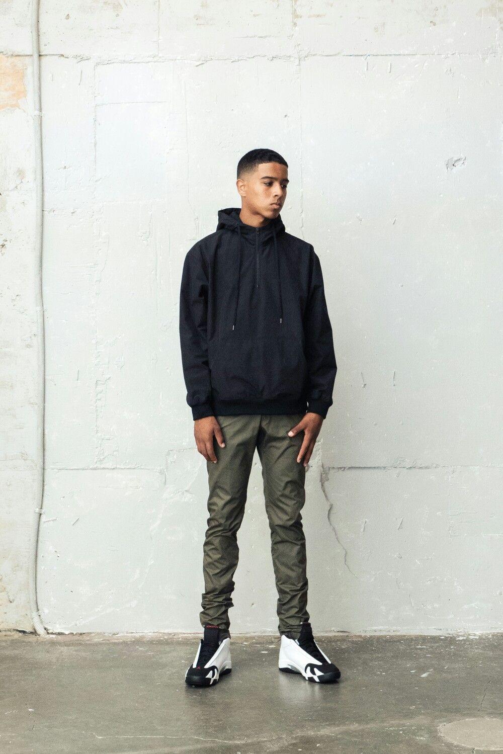 BERKHAN best item black half zip hoodie and khaki skinny pants