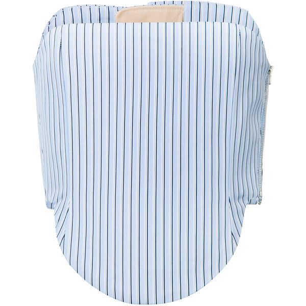 Y / Project striped corset top (16 340 SEK) ❤ liked on Polyvore featuring tops, strapless corset top, corset tops, cut-out crop tops, blue striped top and stripe top