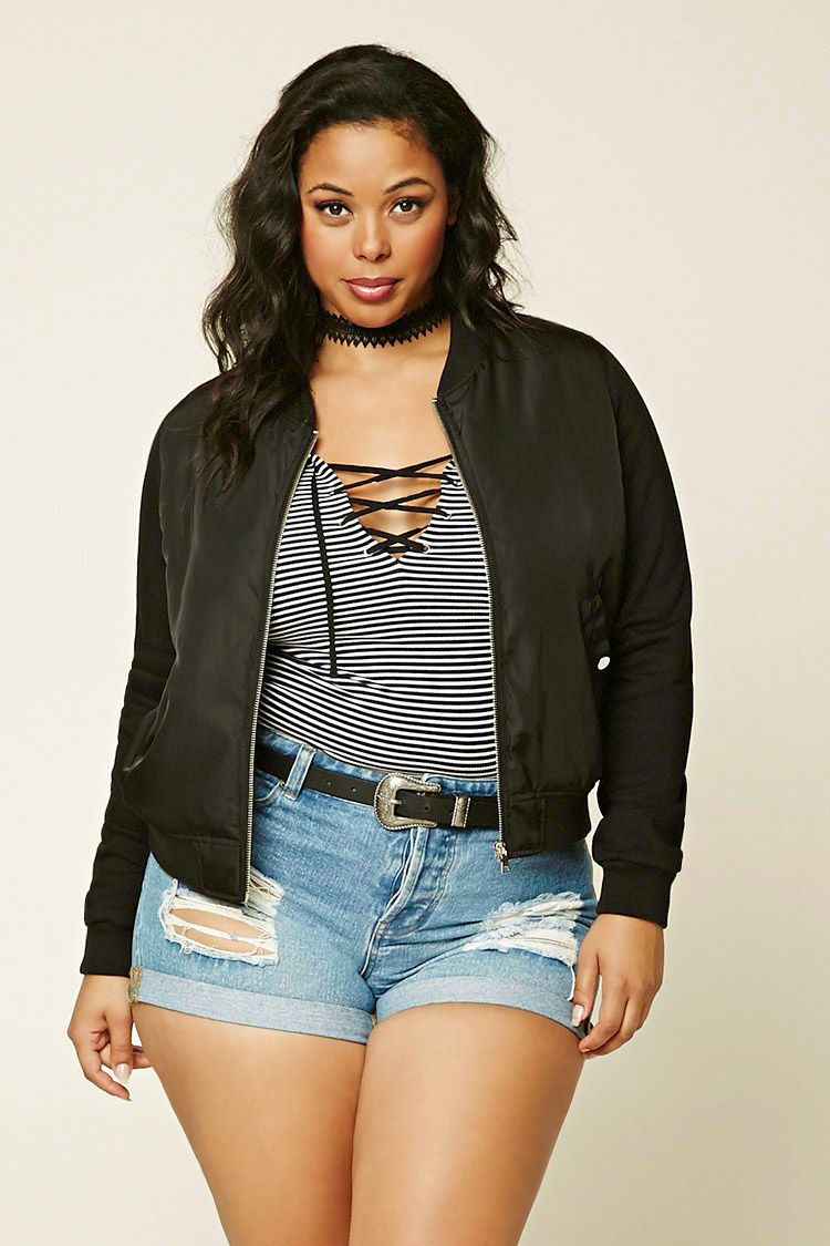 b8c50005645 Plus Size Bomber Jacket