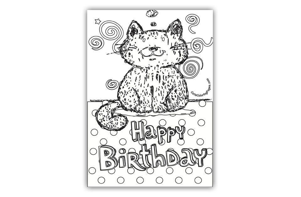 Tomcat Happy Birthday Card Coloring Page Cat Coloring Page