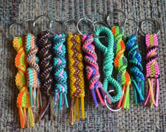 Lot Of 10 Rexlace Boondoggle Gimp P Lastic Lace Keychains