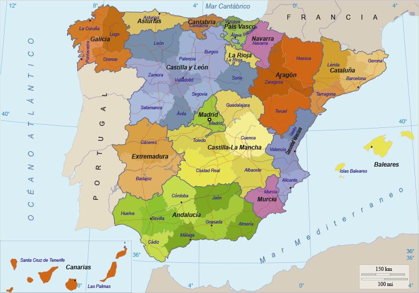 Mapa de Espaa Provincias y comunidades as como su texto