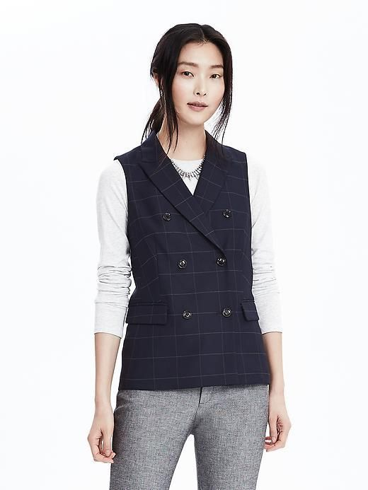 Double-Breasted Windowpane Vest - $98.00
