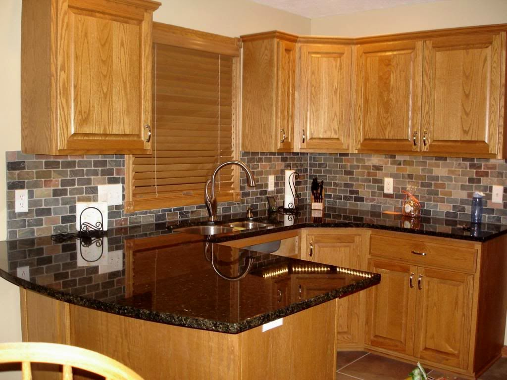 granite kitchen countertops with honey oak