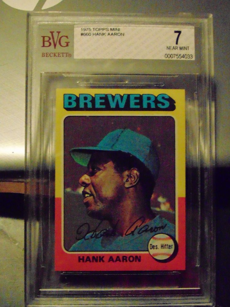 1975 topps mini hank aaron milwaukee brewers 660 baseball