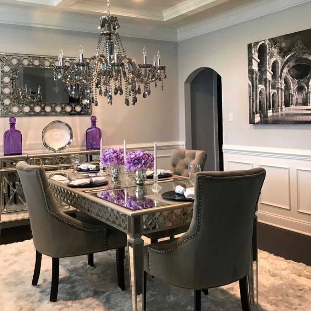 Glamorous Chic And Sophisticated This Dining Table Is Made Of Solid Wood And Silver Antique Metallic Luxury Dining Room Chic Bedroom Decor Dining Room Decor