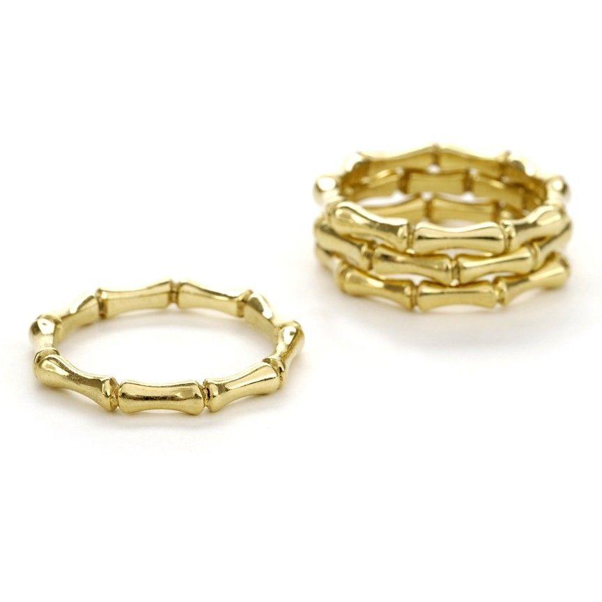 18 Karat Gold Bamboo Ring Via Etsy Bamboo Earrings 18 Karat Gold Rings