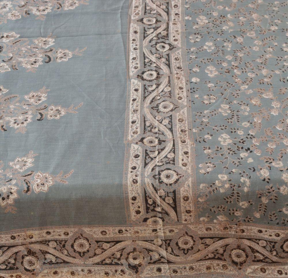 Sanskriti Vintage 100% Pure Cotton Saree Grey Printed Sari Dress Making Fabric #SanskritiVintage #Saree