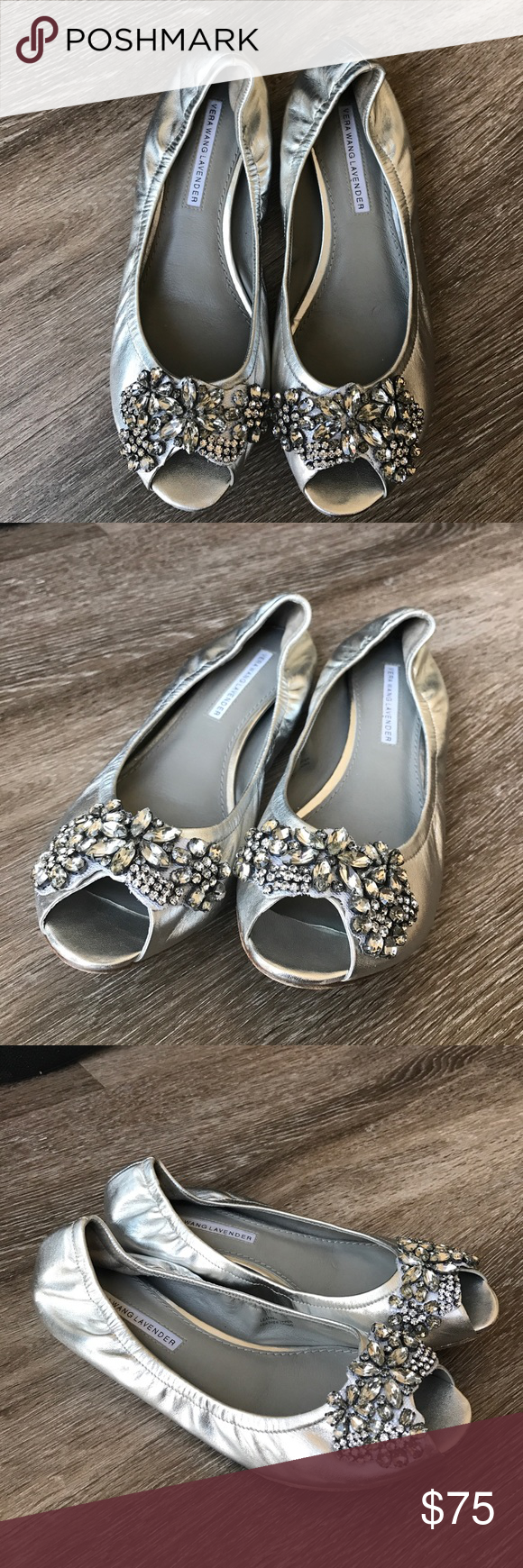 Vera Wang Lavender peep toe embellished flats Beautiful hard to find silver leather peep toe flats embellished with Swarovski crystals. Perfect for wedding shoes that are very comfortable too. Size 7.5M Vera Wang Shoes Flats & Loafers