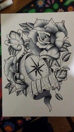 Brújula y rosas black and grey. Entintado y rotuladores