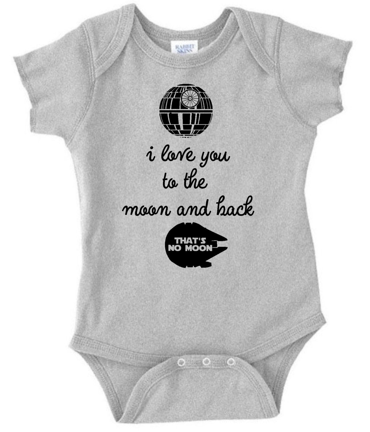 I love you to the moon and back Star Wars inspired onesie and