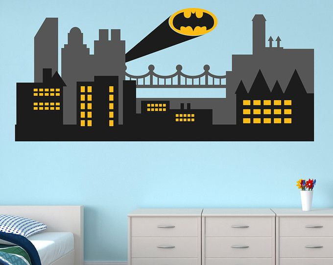 Superhero Wall Decal   Gotham City Wall Decal   Batman Sticker   City  Skyline   City Wall Decal   Batman Wall Decal   DI1402