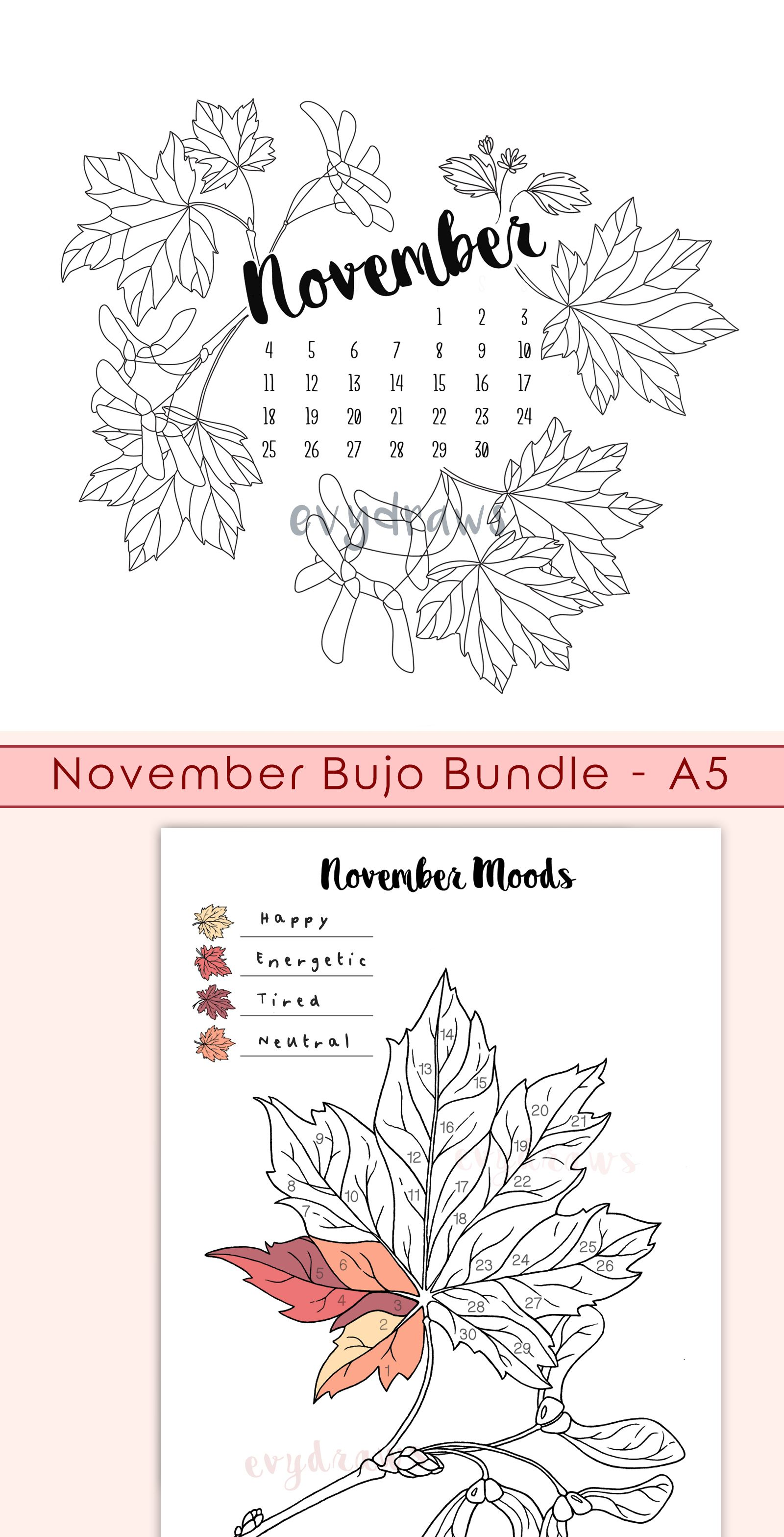 November 2019 Calendar & Bullet Journal Pages #novemberbulletjournalcover