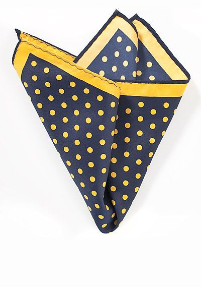 93076739967d2 Blue and Yellow Polka Dot Pocket Square   accessory   Pocket square ...