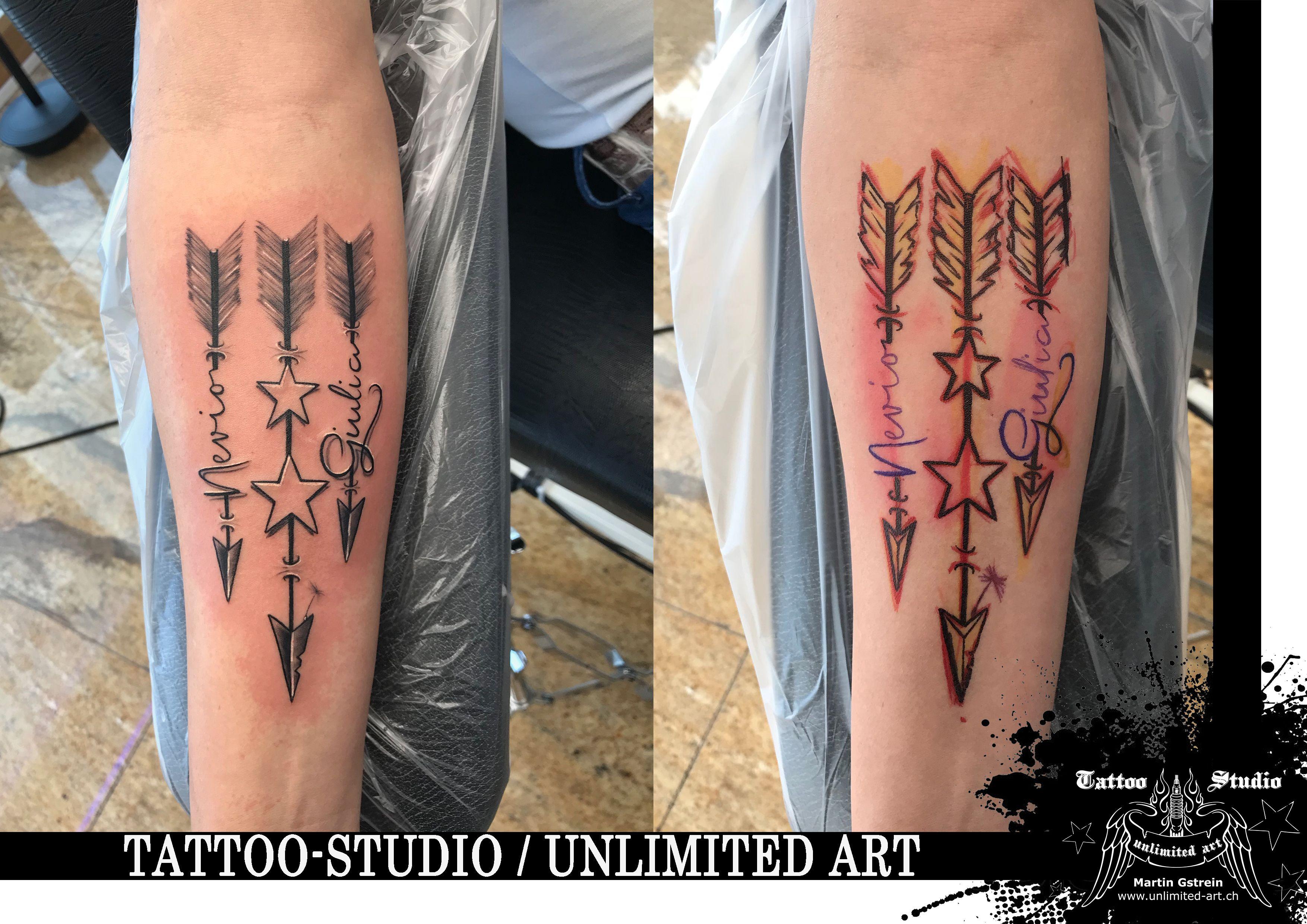 Black Grey Tattoo Pfeile Mit Name Arrow With Name Tatowierungen Graues Tattoo Schriftarten Fur Tattoos