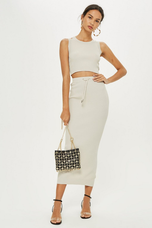 a0b1d81fb111 Co-ord Midi Skirt Set @Topshop | I wanna | Tube skirt, Skirts, Knit ...