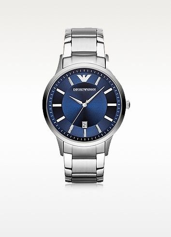 EMPORIO ARMANI Renato Silver Tone Stainless Steel Men S Watch W Blue Dial.   emporioarmani  renato silver tone stainless steel men s watch w b 0c0253b8d8ca