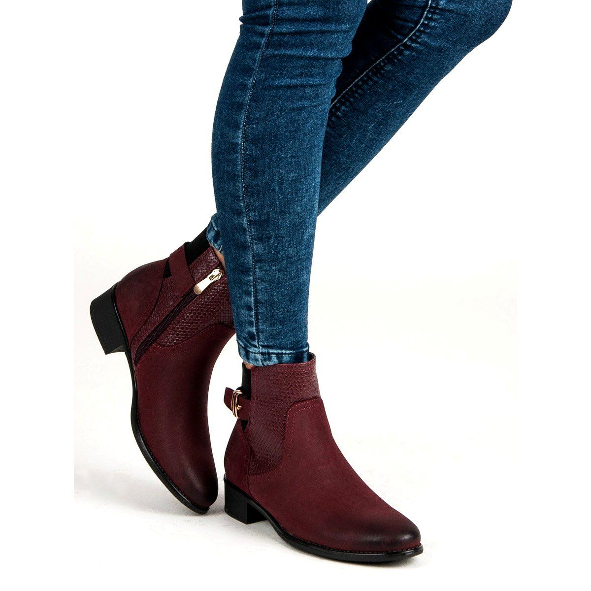 Vinceza Damskie Jesienne Botki Czerwone Ankle Boot Fashion Shoes