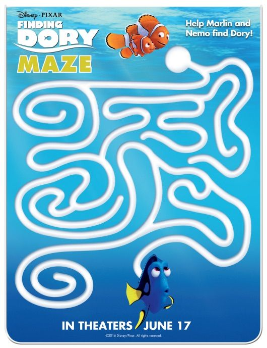 FREE Activity Sheets FINDING DORY Exciting Journey Of Small Fish - new pixar coloring pages finding nemo