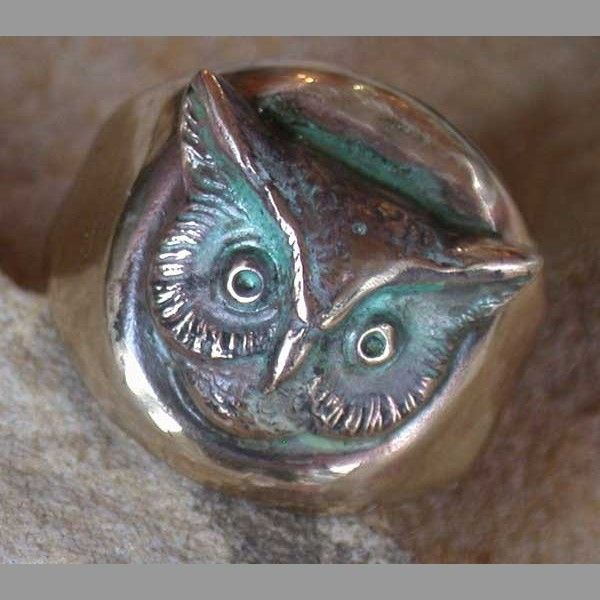 Verdigris Patina Solid Brass Young Collectors Sculptural Owl Ring By Elaine  Coyne Galleries. American Made