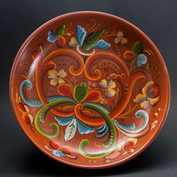 1979 Rosemaling Bowl Norwegian Decor Telemark Text by Scandifinds