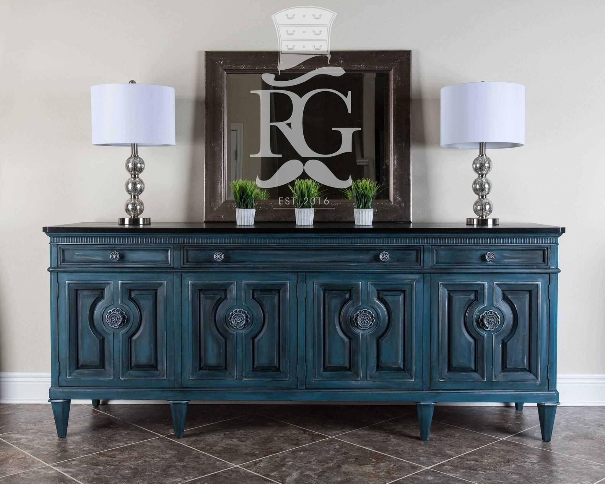 Credenza Buffet Painted In Annie Sloan Chalk Paint Aubusson Graphite Wash Clear Wax Black W Blue Painted Furniture Painted Furniture Refinishing Furniture