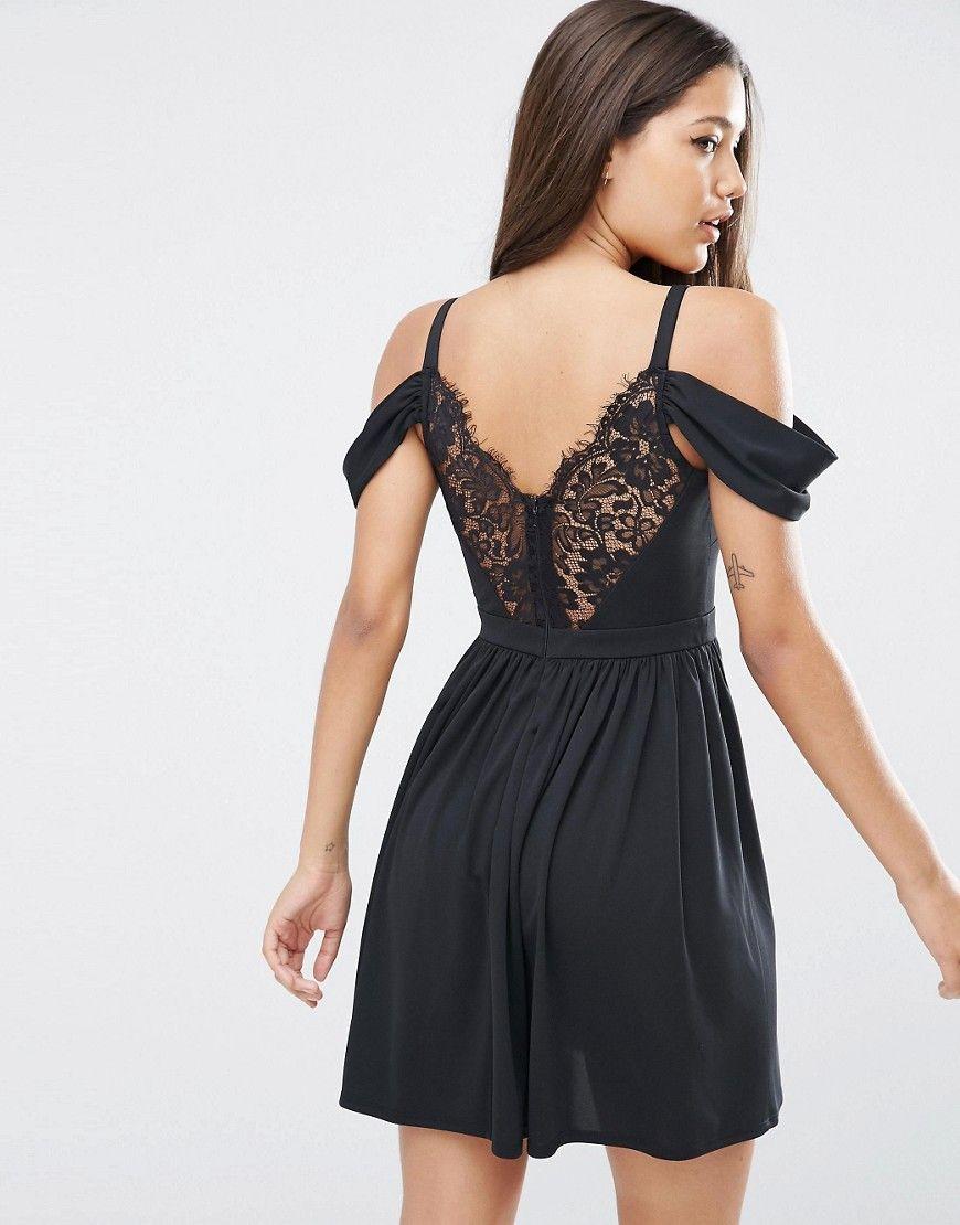 Asos cold shoulder lace back skater dress black products