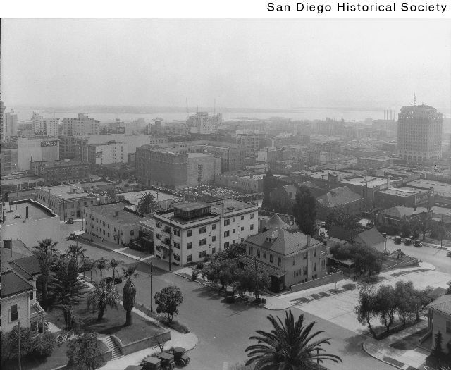 Downtown San Diego from the El Cortez Hotel looking south from Seventh and Ash Street    San Diego, CA c.1927