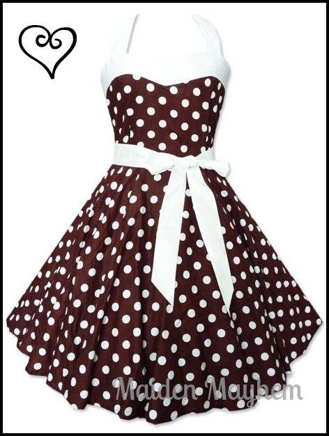 Vintage Inspired 1950s BROWN DOTTI Swing Dress Rockabilly Pin Up Retro .99c Auction!