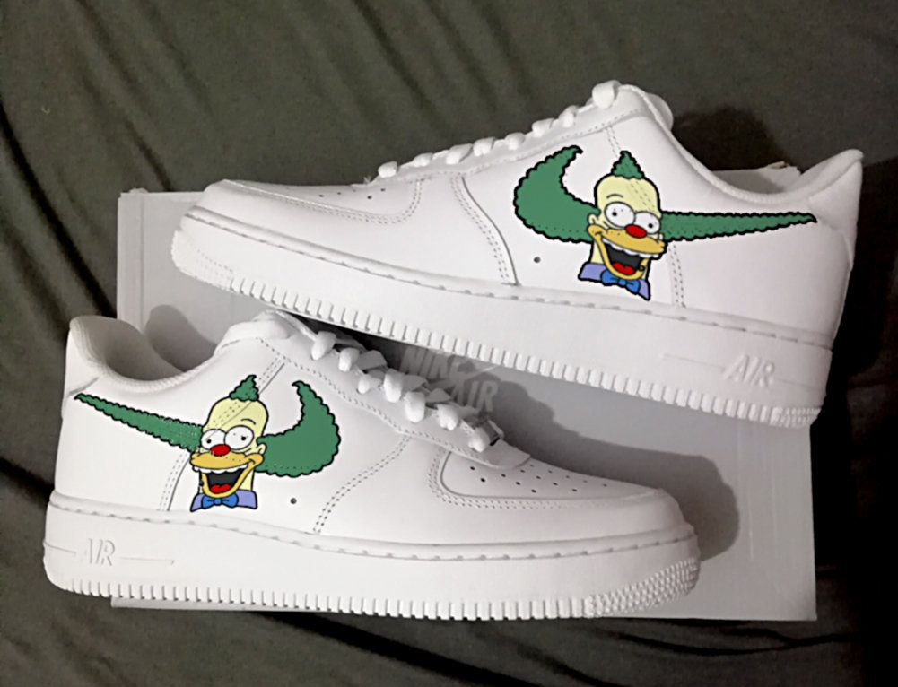 1d378561cbe3b Custom Nike Air Force one krusty the clown simpsons,bart,custom ...