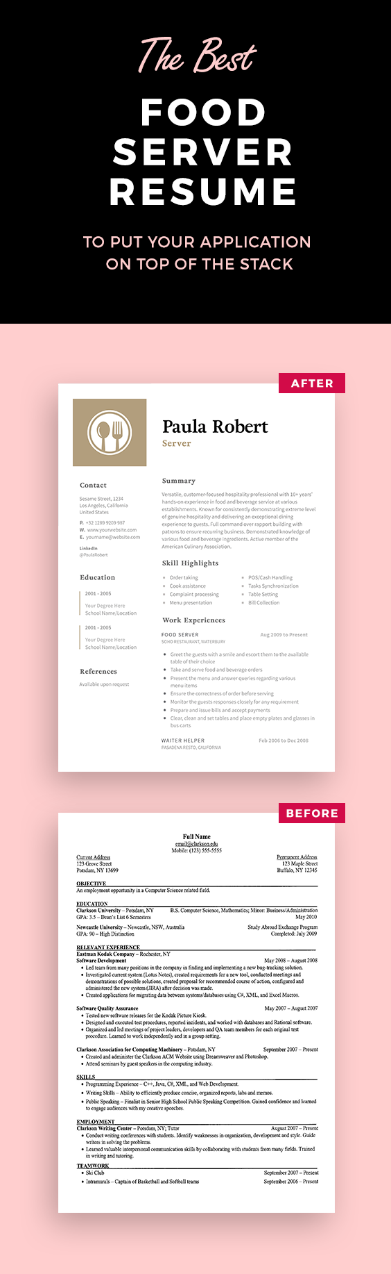 Resume For Server Server Resume Template  Resume Templates  Pinterest  Template And .