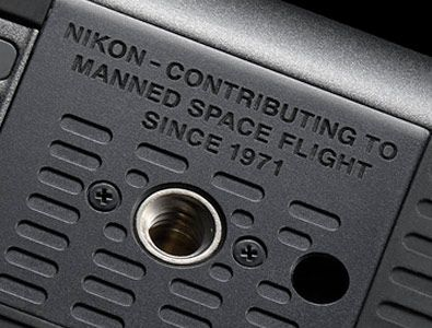 close up of the commemorative message on the bottom of the D5 anniversary edition DSLR