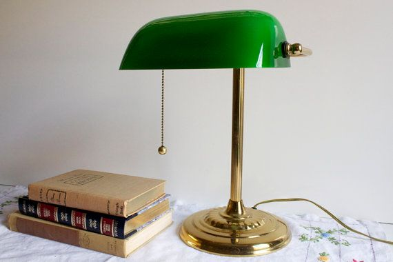 Vintage Banker S Lamp With Green Glass Shade Etsy Bankers Lamp Lamp Green Lamp Shade