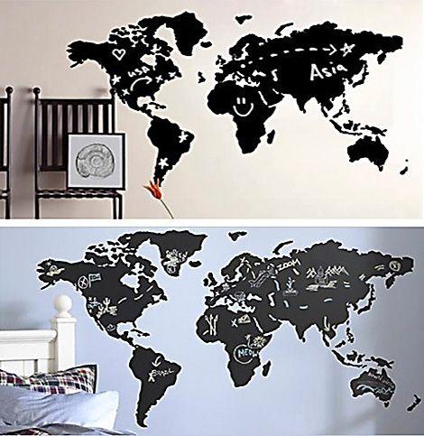 Muursticker Wereldkaart Krijt.Krijt Of Magneet Wereldkaart Woonkamer Muur Boven Eettafel