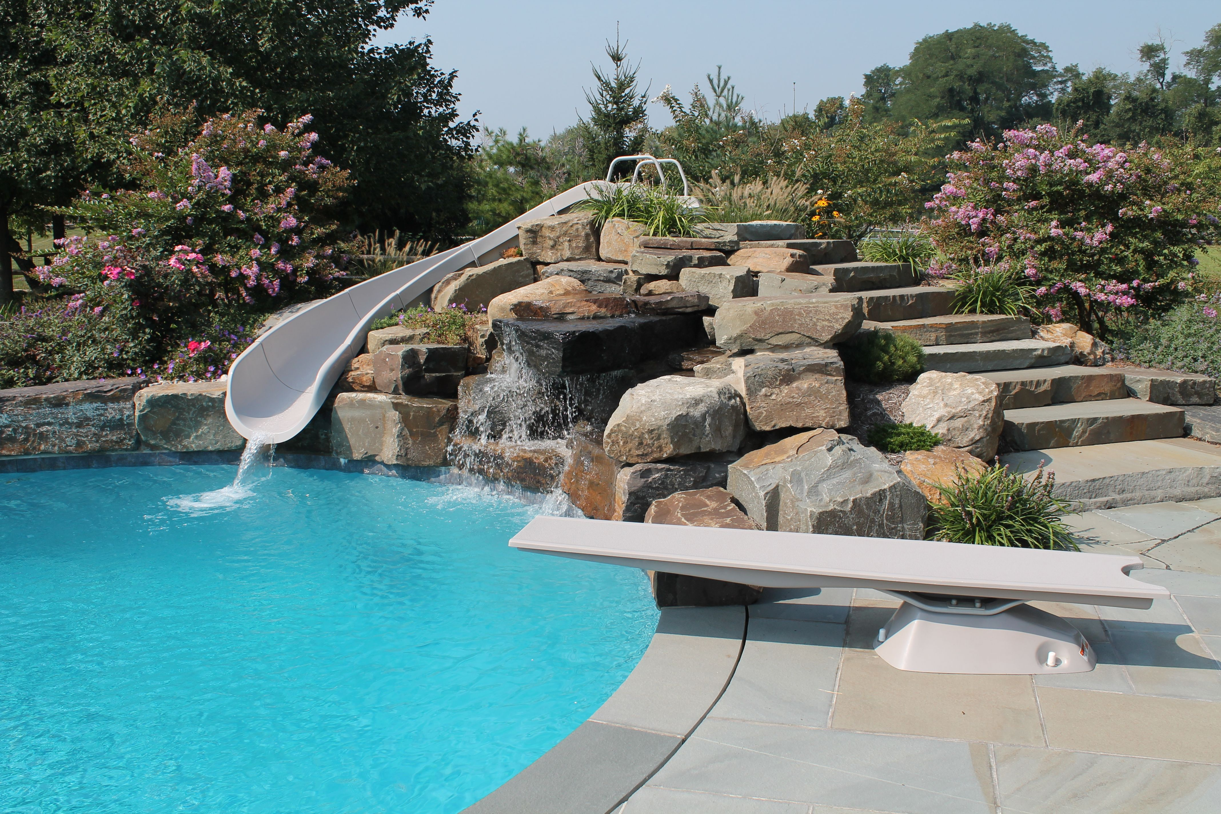 Custom Waterfall With Flume And Diving Board Aqua Bello Designs 215 353 0657 Pool Water Features Pool Designs Pool