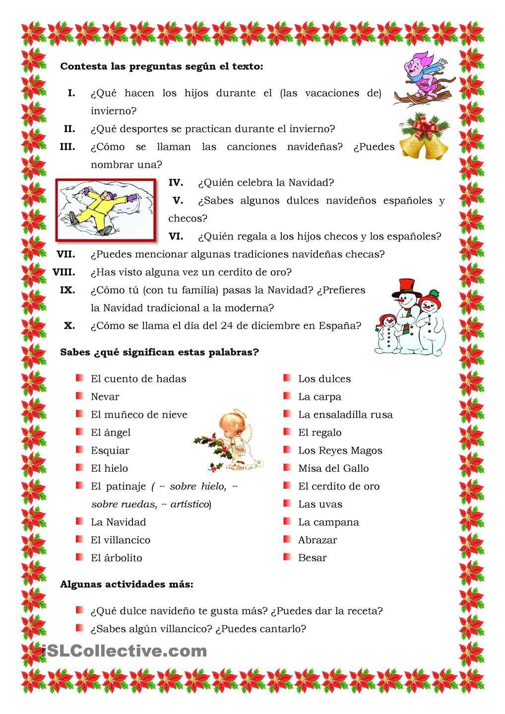 Las vacaciones de invierno, verbos, Navidad | Estaciones | Pinterest ...