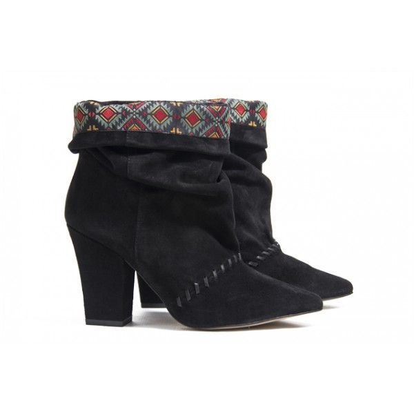 black suede booties with boho ornamental fabric by Howsty