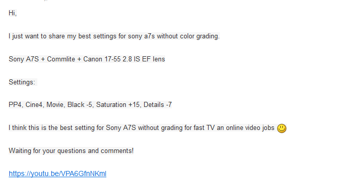 Sony A7S - PP4 - BEST SETTINGS WITHOUT GRADING - Sony Alpha Full