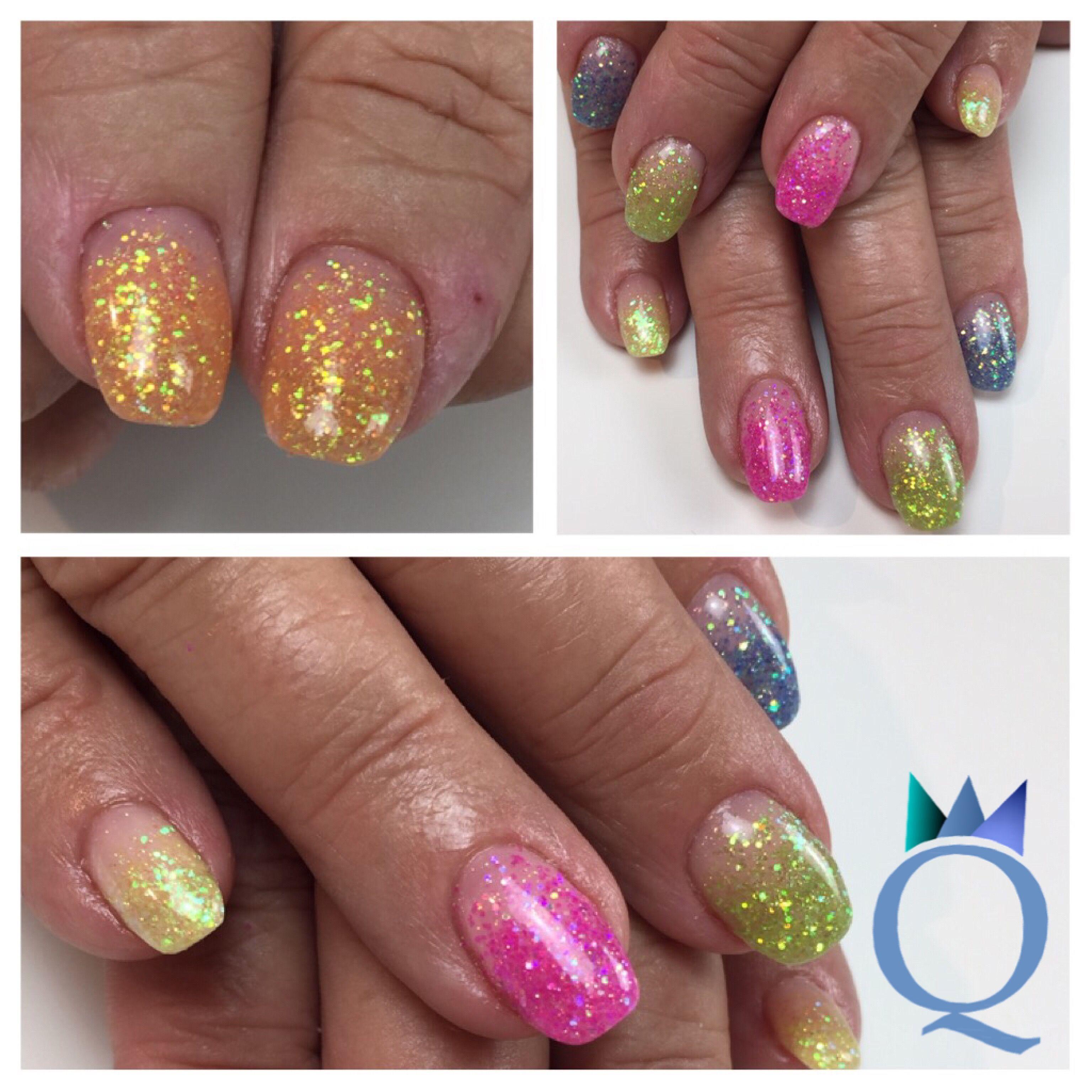 gelnails #nails #neon #glitter #ombre #carnival #carnivalnails ...