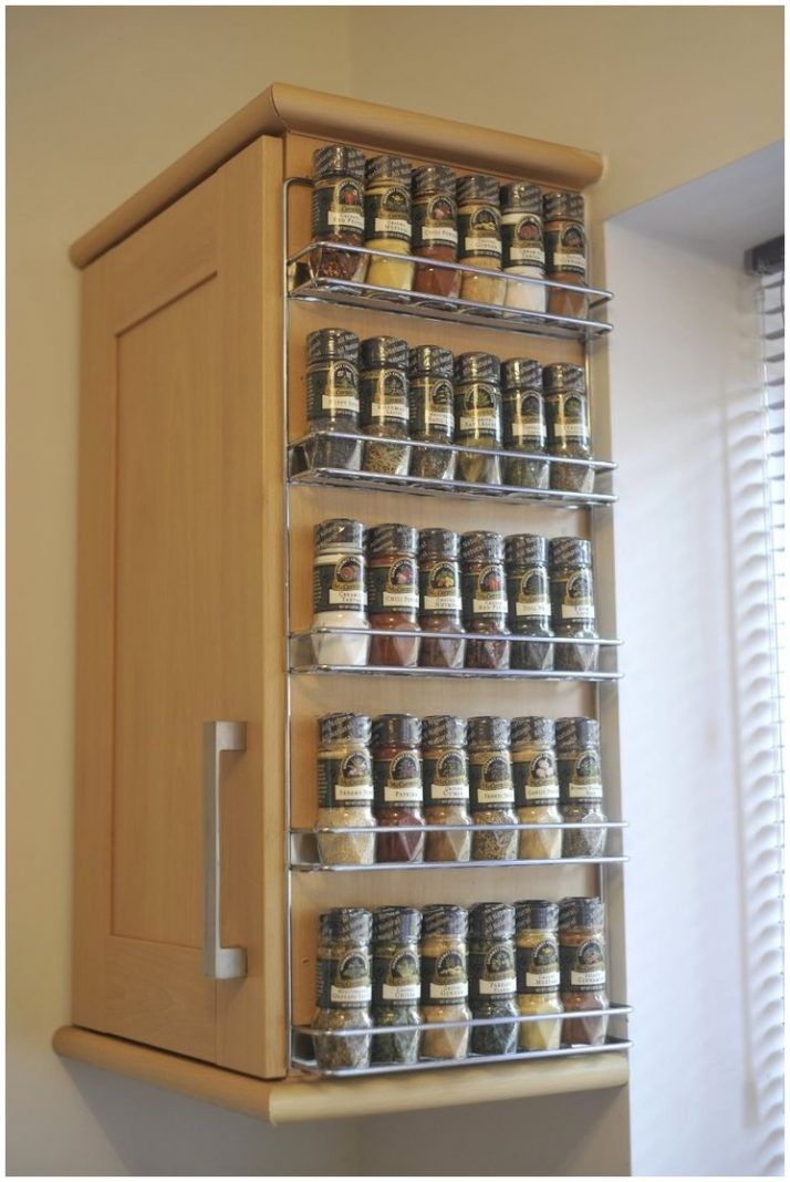 20 spice rack ideas for both roomy and cramped kitchen home diy kitchen storage kitchen. Black Bedroom Furniture Sets. Home Design Ideas