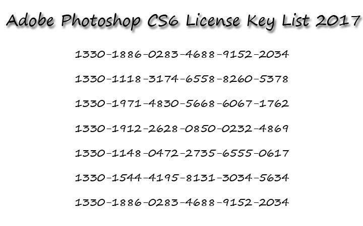 Adobe Photoshop CS6 License Key List 2017 | Serial Key | Adobe