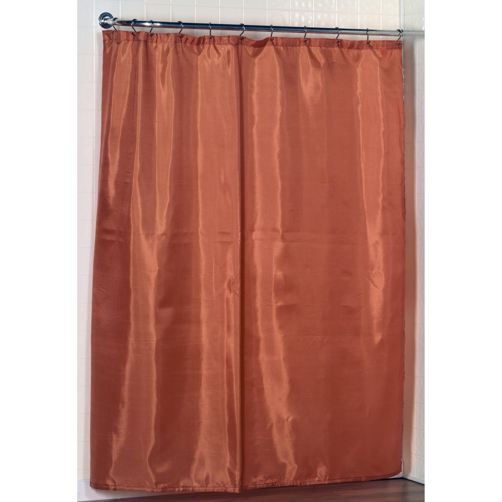 Carnation Home Fashions Fabric Shower Curtain Liner With Weighted Bottom Hem Tangerine