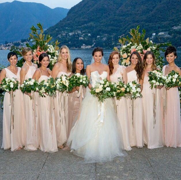 Chrissy Teigen S Bridesmaids Chrissy Teigen Wedding Dress Chrissy Teigen Wedding Celebrity Weddings