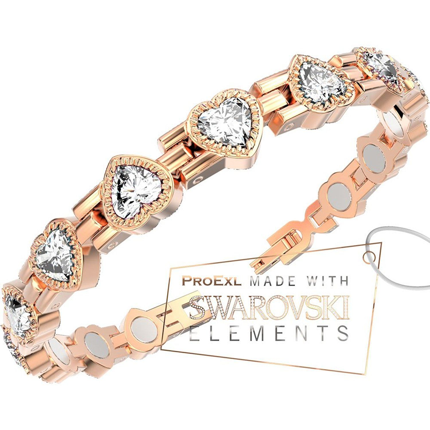A Swarovski Love Heart Crystal Womens Magnetic Bracelet Rose Gold