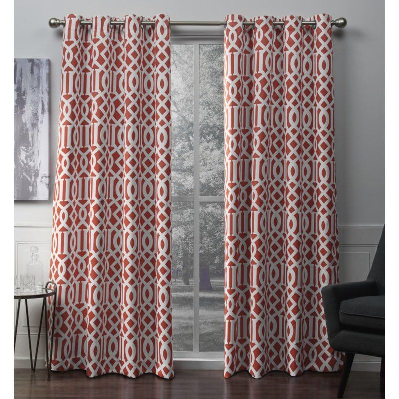 Scrollwork Geometric Blackout Thermal Grommet Curtain
